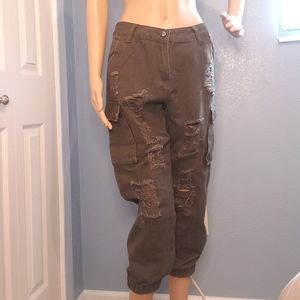 Army green cargo pants, distressed look